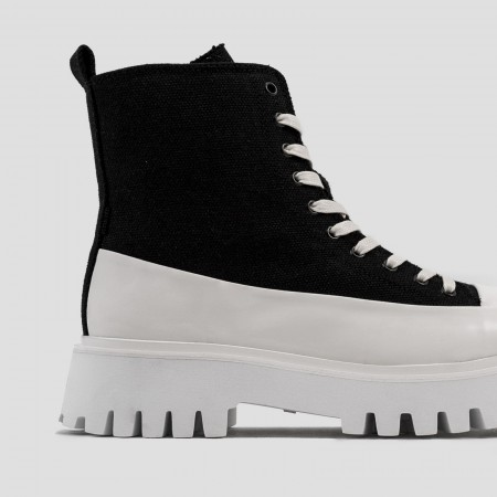 BRONX / Boots / Groov-y Bootie Canvas Black / Off White