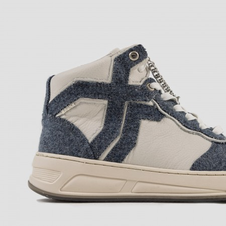 BRONX / Trainers / OLD-COSMO HIGH TOP JEANS BLUE / OFF WHITE