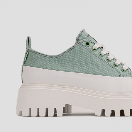 BRONX / Trainers / Groov-y low lace up canvas sage green