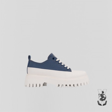 BRONX / Trainers / Groov-y low lace up canvas retro blue